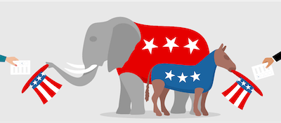 Illustration of political party mascots holding hats out for ballots. Stay Politically Informed pbs rewire