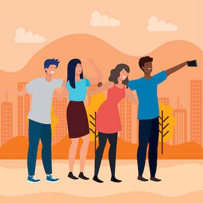 Illustration of friends taking a selfie together. Social Anxiety pbs rewire