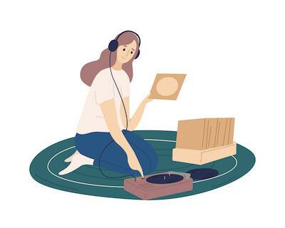Illustration of woman laying on floor with her records. Say 'No' to a Friend pbs rewire