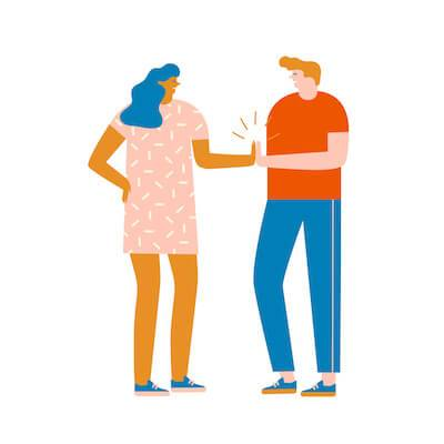 Illustration of stepsiblings giving each other a high five. Stepsibling pbs rewire