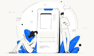 illustration in a line drawing style of a large phone and a man on one side and a woman on the other, both with devices. Rewire PBS Living Texting