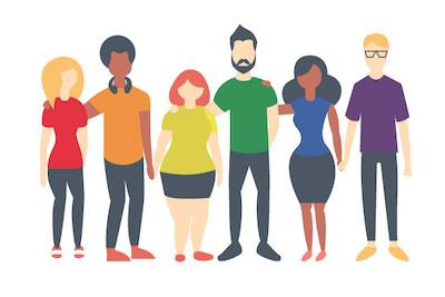 Illustration of LGBTQ people standing in arms together. Bisexual Folks pbs rewire