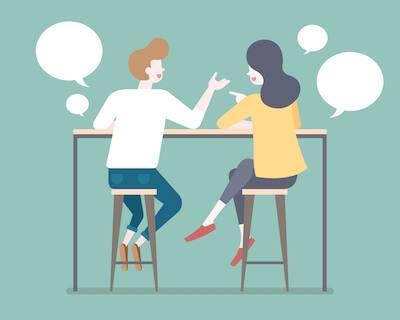 Illustration of couple sitting on stools talking. Boyfriend's Therapist pbs rewire