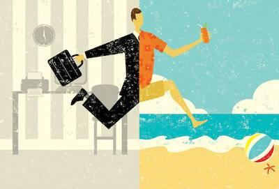 Illustration of man half in business suit, half in beach wear. PTO pbs rewire