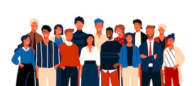 Illustration of many office coworkers wearing different attire. Work Wardrobe pbs rewire