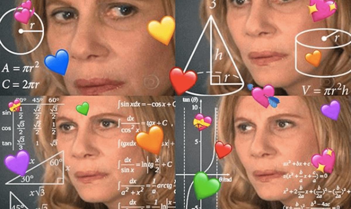 a popular meme depicting a woman solving a math problem