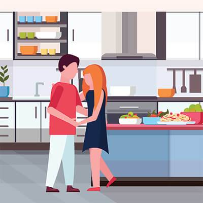 An illustration of a couple hugging in their new kitchen. Rewire PBS Love Buy a House