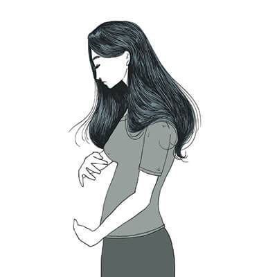 Illustration of a sad young woman holding her imaginary belly. Rewire PBS Love Miscarriage