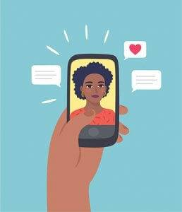 Illustration of a hand holding a smart phone with a woman Facetiming and a heart emoji. Rewire PBS love Online Daters