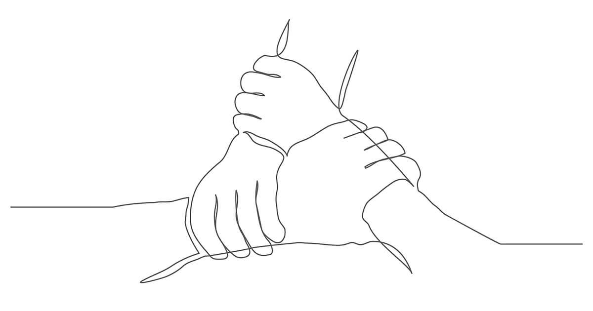 Line drawing on white background of three clasped hands. Rewire PBS Living Suicide