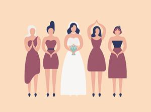 Bridesmaids and bride. Rewire PBS Love Bridal Party