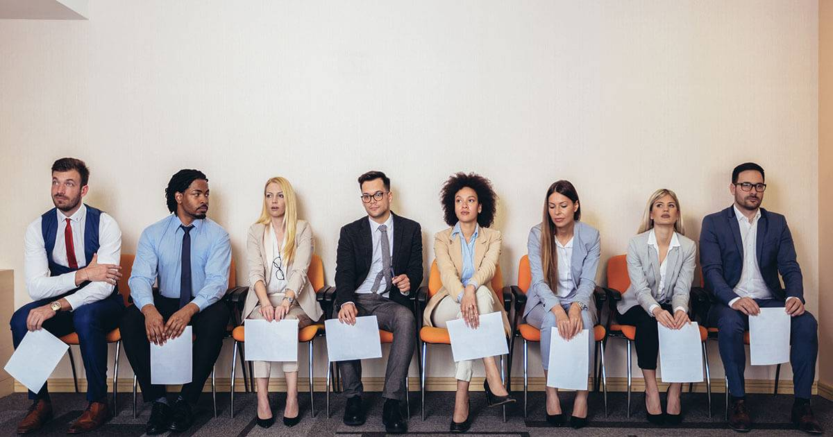 Job candidates waiting for an interview. Rewire PBS work ghosting