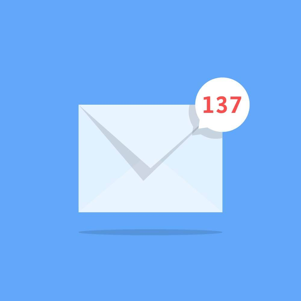 Illustration of an unread mail notification with 137 messages unread. Rewire PBS Love Friendships