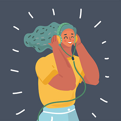 A woman listens to headphones. Rewire PBS Living Audiobooks