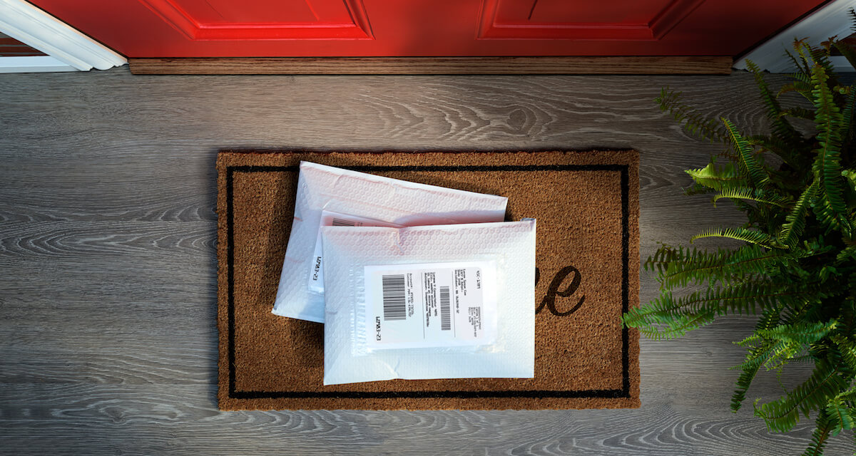 Two packages delivered to a house with a red door. Rewire PBS Living Instagram ads
