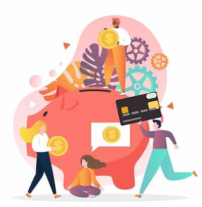 An illustration with a piggy bank, a credit card and some people. Rewire PBS Work Credit Card