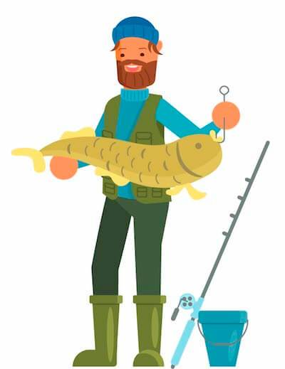 Bearded fisherman with big fish on his hook. Rewire PBS Living Alone Time