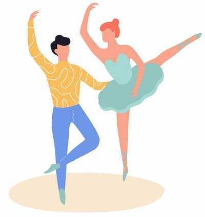 Illustration of two ballet dancers. Rewire PBS Work Dream