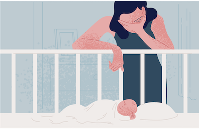 A tired mom leans over her baby's crib. Rewire PBS Love Young Mothers