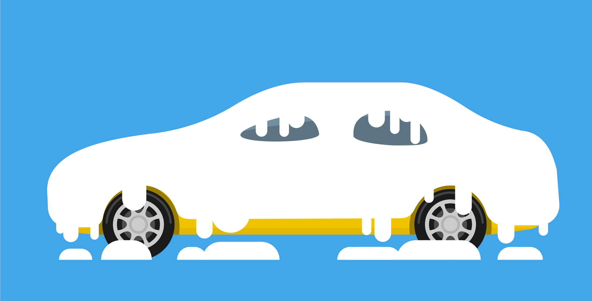 Illustration of a yellow car covered in snow. Living Rewire PBS Winter car care