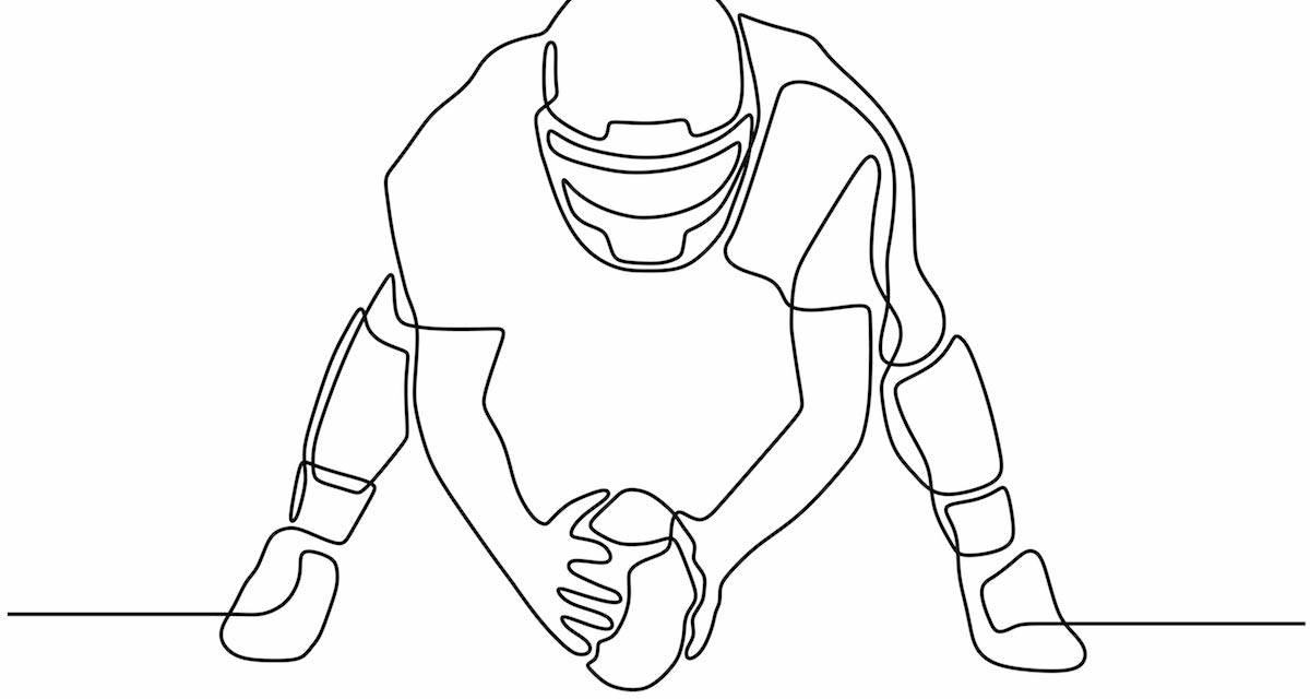 A line drawing of a football player. Rewire PBS Our Future Cultural Appropriation