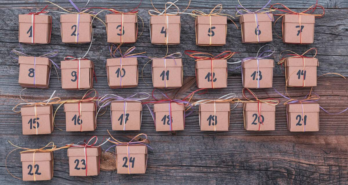 A photo of little boxes with numbers from 1 to 24 on them. Rewire PBS Living Advent calendars