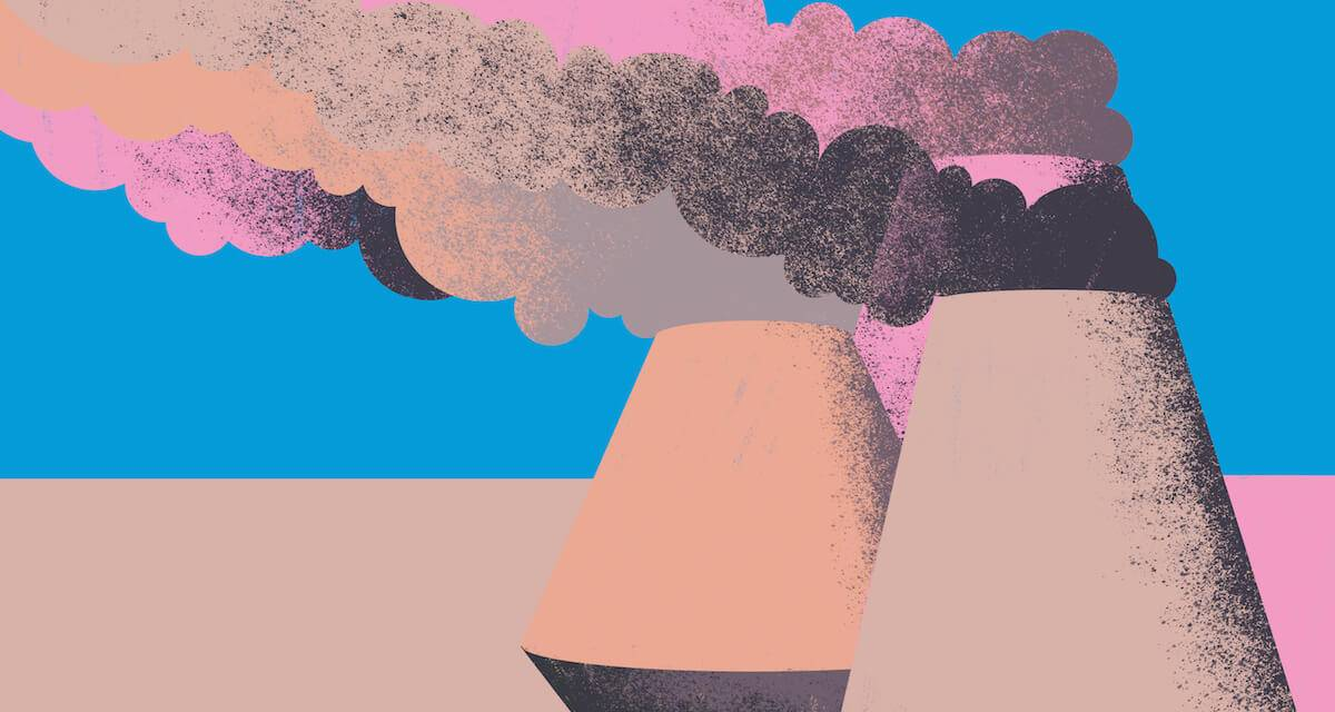 An illustration of smoke stacks with smog. Rewire PBS Living Existential Anxiety