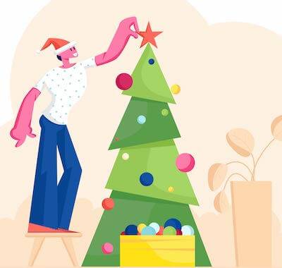 Illustration of someone decorating a Christmas tree. Rewire PBS Love Alone