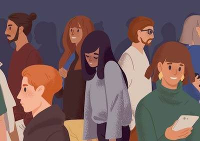 illustration of a bunch of young adults and one person in the middle, looking sad. Rewire PBS Love Background friend