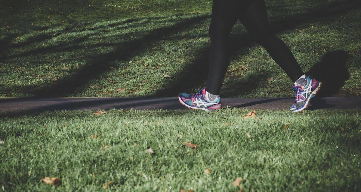 Photo of someone running, as seen from knees down. Rewire PBS Living Exercise culture