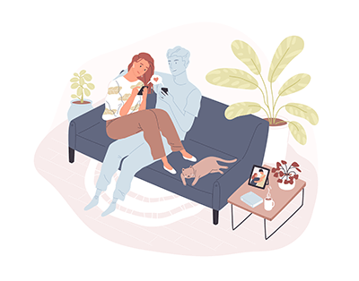 Couple in long distance relationship text on couch. REWIRE PBS Love career