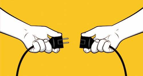 Illustration of hands holding two ends of an electrical plug. Rewire PBS Work Vacation