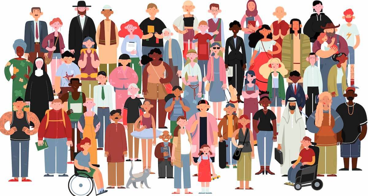 An illustration of a group of many different people. Rewire PBS Our Future Context collapse