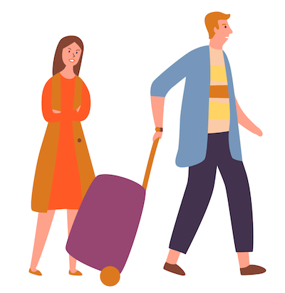 Illustration of a man wheeling a suitcase away while a woman looks angry. Rewire PBS Love Traditions