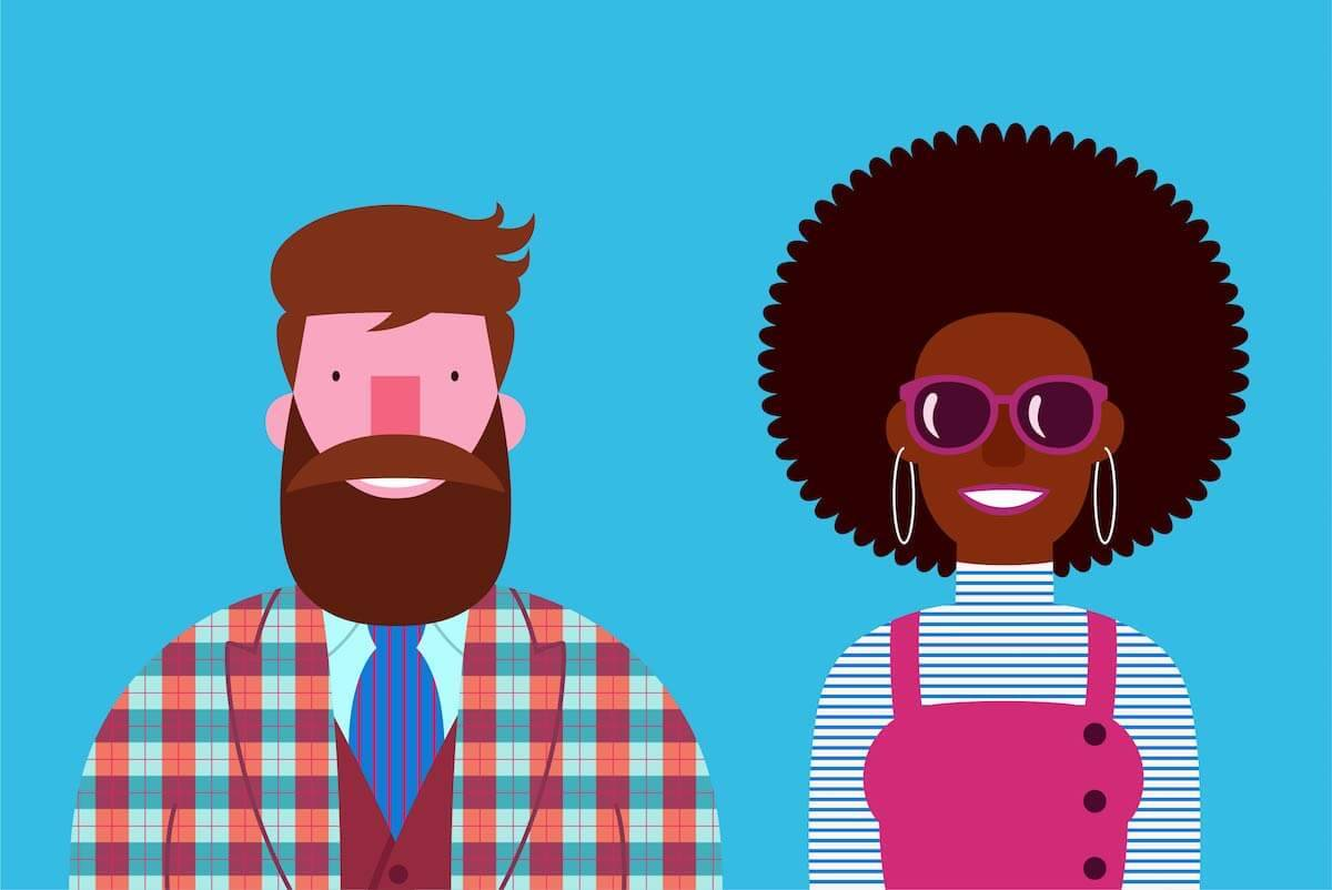 Illustration of a white man and a Black woman. Rewire PBS Love Racial