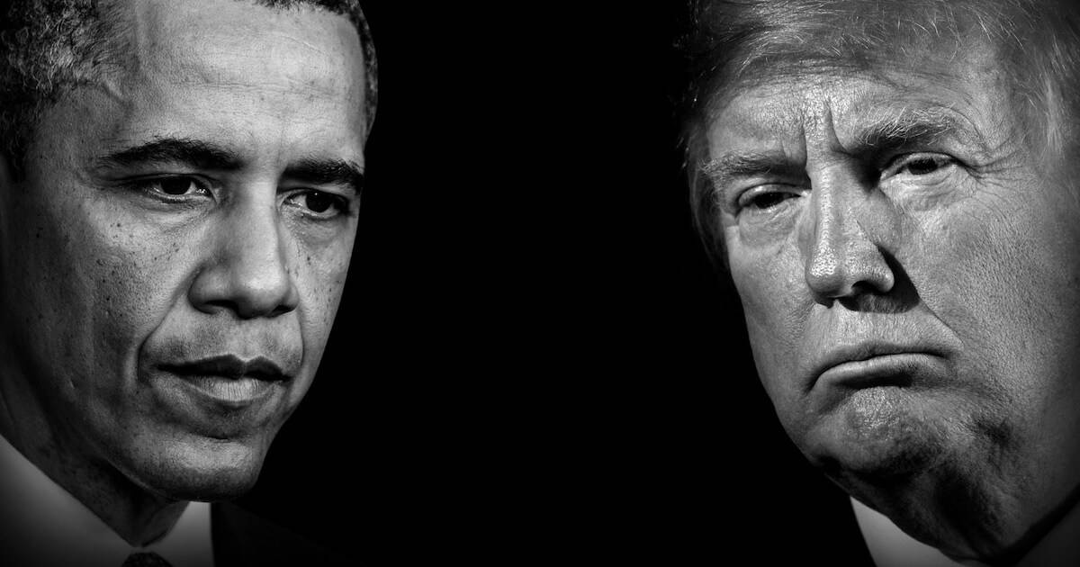 A black and white photo featuring Barack Obama and Donald Trump. Rewire PBS Our Future America's Great Divide