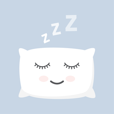 illustration of a pillow with closed eyes, sleeping. Rewire PBS Living How much sleep