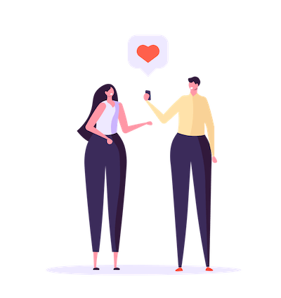 Illustration of a man and a woman with a heart emoji between them. Rewire PBS Love Ex