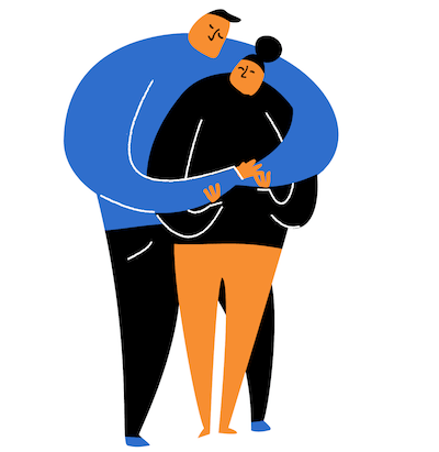 An illustration of two people hugging with their eyes closed. Rewire PBS Living Loneliness