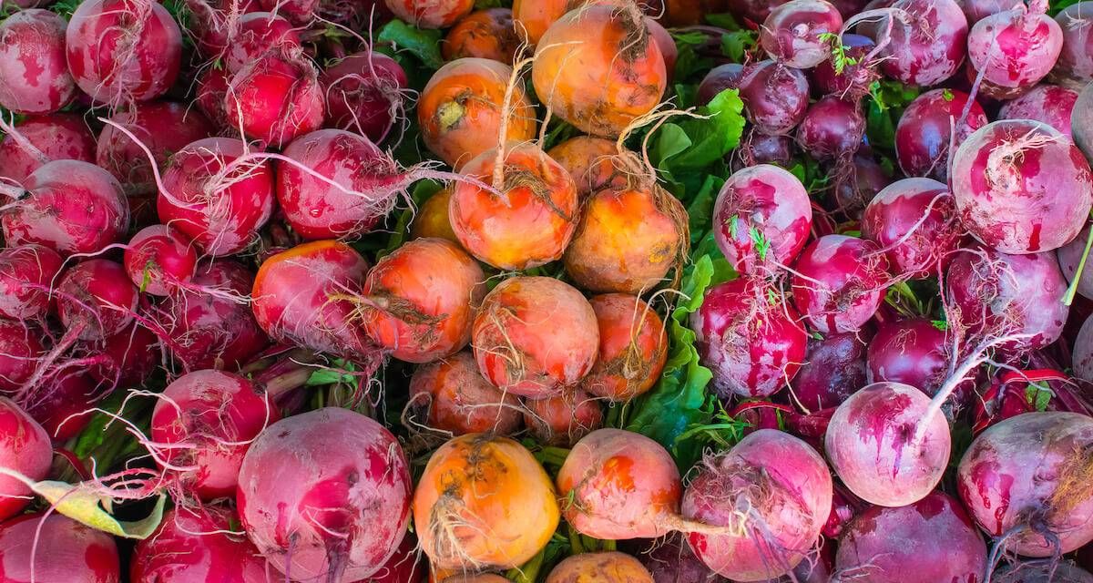 a photo of beets at a farmers market. Rewire PBS Living Farmers Markets