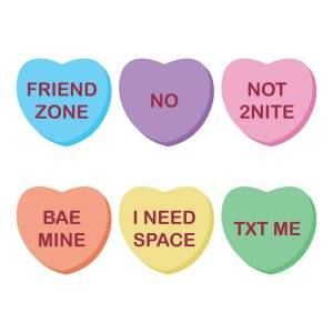 "illustration of ""modern day"" candy hearts that say things such as ""friend zone"" and ""bae mine."" Rewire PBS Love Valentine"