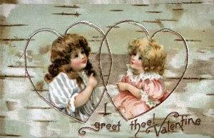 Two children, 1800s, enclosed in heart shapes, on wood grain background. Vintage Valentine Postcard Greeting card Rewire PBS Love Valentine