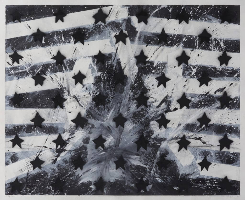Abstract artwork of stars and stripes in black and white.