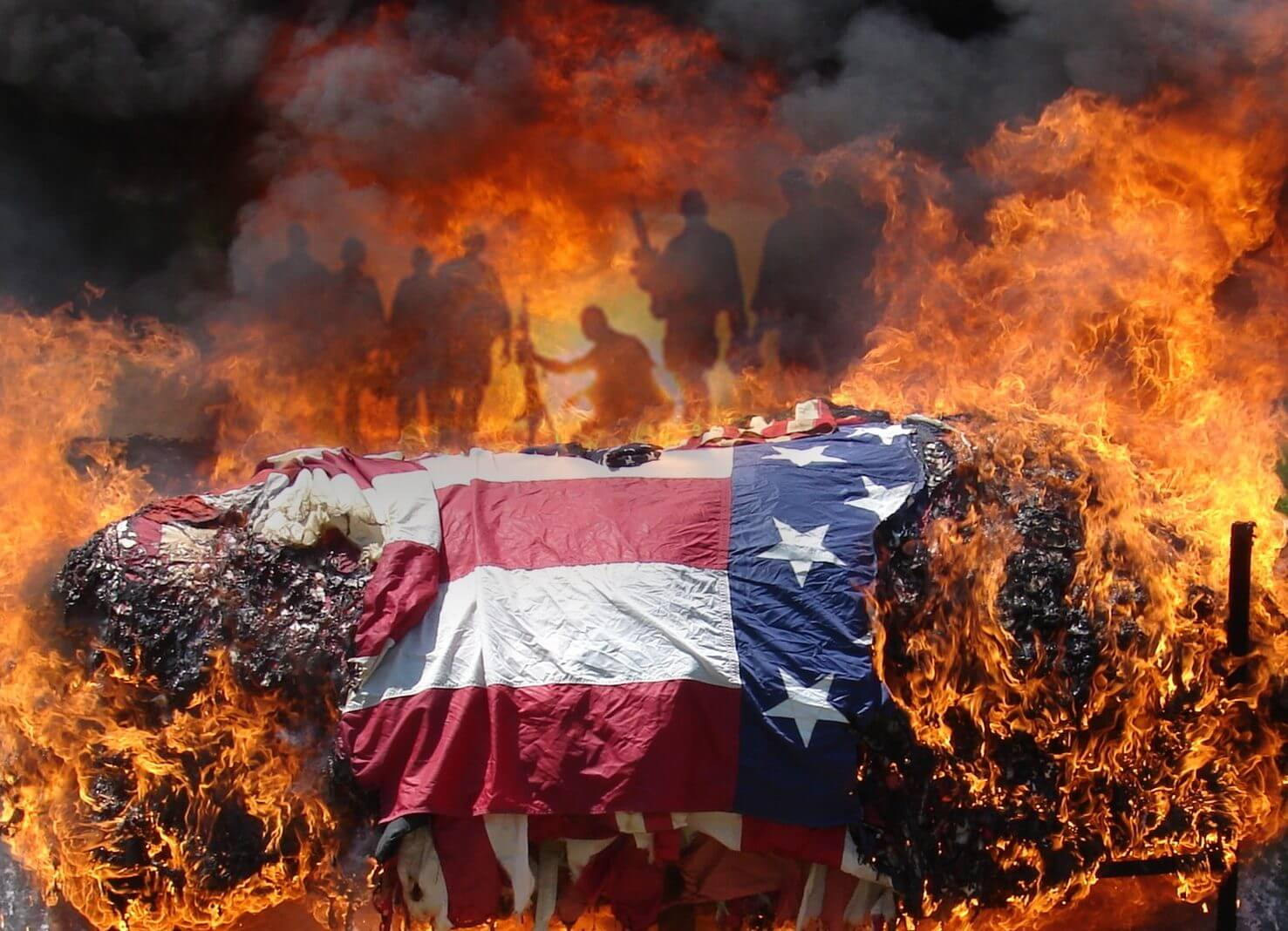 Artistic rendering: flag engulfed in flames, silhouettes of soldiers in the background smoke.