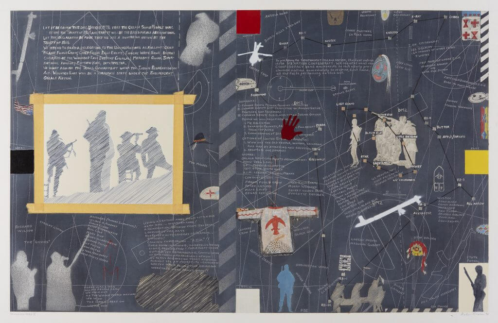 Mixed-media collage with text, symbols, silhouettes and military imagery.