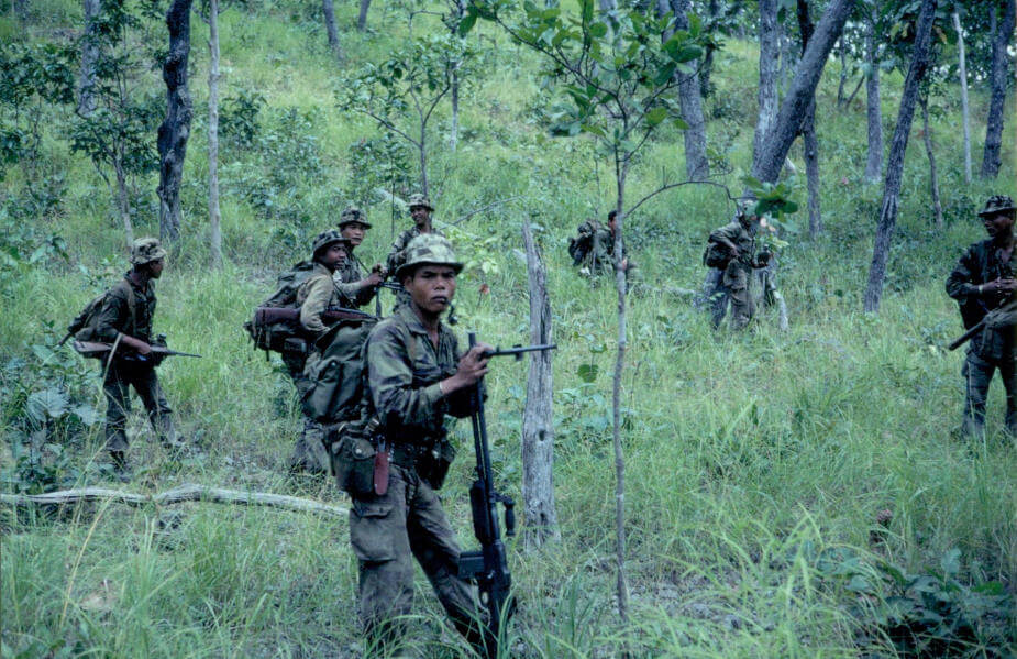 Asian soldiers in a jungle.
