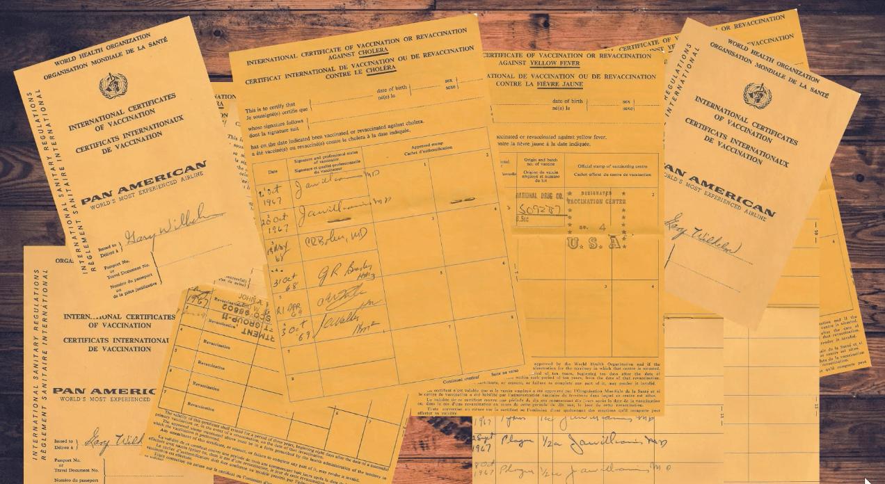 Yellowish-orange immunization records.