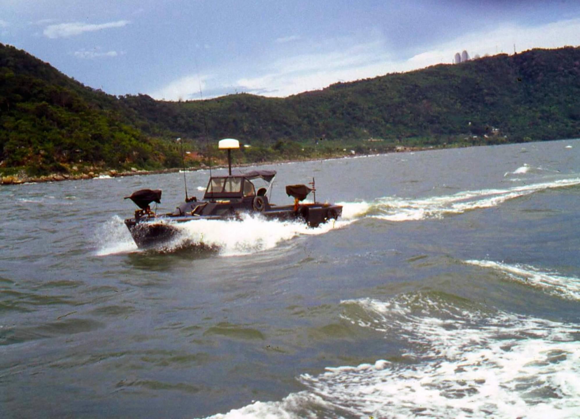 Patrol boat on the ocean.