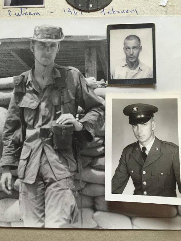 Photo collage of Mark on various landmark days as a young GI.