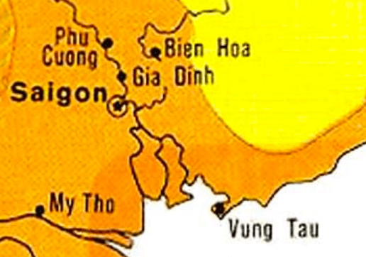 Orange and yellow map of Saigon area.